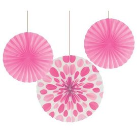 "Paper Fans-Candy Pink Solid & Dots-3pkg-12""-16"""