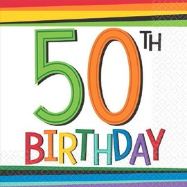 Napkins - Bev - 50th Birthday-16pk-2ply - Discontinued