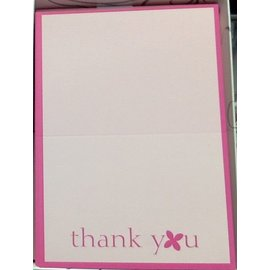 Thank You Cards-Pink Flower Fuchsia-50pk