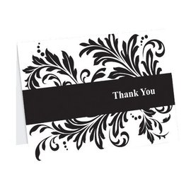 Thank You Cards-Black and White Flourish-50pk