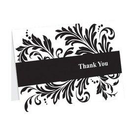 Thank You Cards-Black and White Flourish-50pk