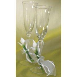 "Flute Wedding Glasses-Calla Lilly Base-2pkg-9.75"""