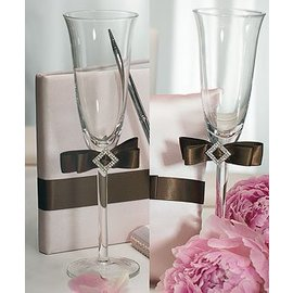 Flute Wedding Glasses-Chocolate Brown Ribbon-2pkg-9""