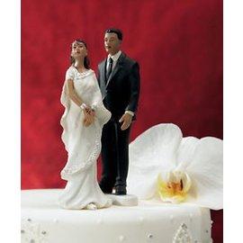 Cake Topper-Indian Bride in White Sari-1pkg-13cm