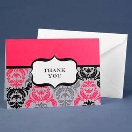 Thank you cards-blk/fuc damask-50pk