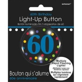 Button-Flashing-60th Birthday-Plastic -2''