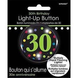 Button-Flashing-30th Birthday-Plastic-2''