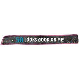 Sash-50th Birthday-Fabric-w/Sequins-30''