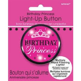 Button-Flashing-Birthday Princess-Plastic-2''