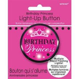 Button-Flashing-Birthday Princess-Plastic-2''