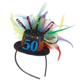 Fascinator-50th Birthday-Fabric-w/Feather & Ribbon