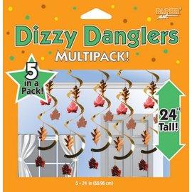 """Danglers-Foil Swirl-Autumn Leaves-5pkg-24"""""""