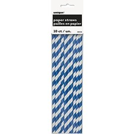 Paper Straws-Royal Blue Stripe-8.25''-10pk