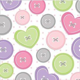 Napkins-BEV-Cute as a Button Girl-16pkg-3ply - Discontinued