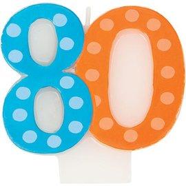 Candle-Bright & Bold 80th Birthday-1pkg