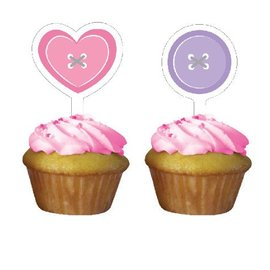 Cupcake Toppers-Cute as a Button Girl-12pkg