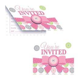 Invitations-Cute as a Button Girl-8pkg