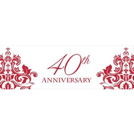 Party Banner-Plastic-Ruby 40th Anniversary-1pkg