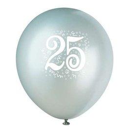 "Balloons-Latex- ""25""  Anniversry-Silver- 12'' (6pk)"