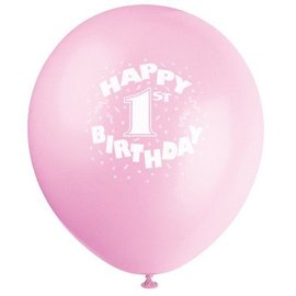Balloons-Latex-Happy 1st Bday-Pink-12'' -6pk