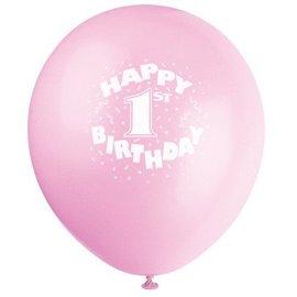 Balloons-Latex-Happy 1st Bday-Pink-12'' -6pk