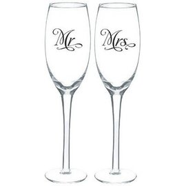 Toasting Glasses-Mr. & Mrs. Set-7.4oz-2pk