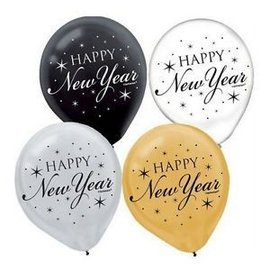 Balloon-Latex-New Year-gold/blk/clear-15pk