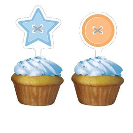Cupcake Toppers-Cute as a Button Boy-12pkg
