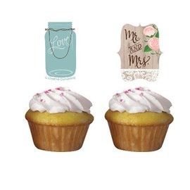 Cupcake Toppers-Rustic Wedding-12pkg