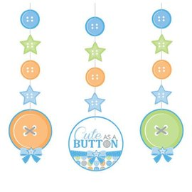 Hanging Cutouts-Cute as a Button Boy-3pkg-36""