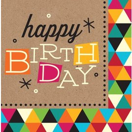 Napkins-LN-Birthday Kraft-16pkg-3ply - Discontinued
