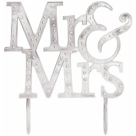 Cake Topper-Mr. & Mrs.-Electroplated Plastic-w/Gems