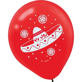 Balloons-Latex-Mexican Fiesta-15pk