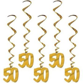 Danglers-Foil Swirl-Golden 50th Anniversary-5pkg-3ft