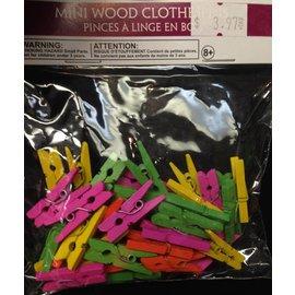 Wood Clothespins - Mini - Neon - 32pk