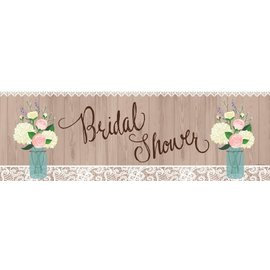 Party Banner-Plastic-Rustic Wedding Bridal Shower-1pkg