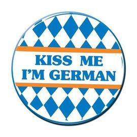"""Button-Oktoberfest Kiss Me I'm German-1pkg-3.5"""""""