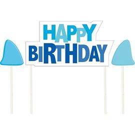 "Candle Picks-Shark Splash Birthday-3pkg-2.75"""