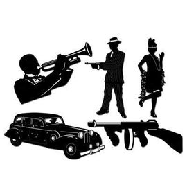 "Cutouts-Gangster Silhouttes-5pkg-19.5""-25"""