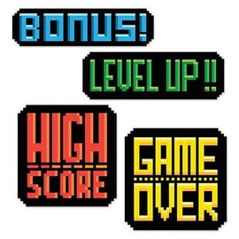 "Cutouts-8-Bit Action Signs-4pkg-9.75""-14"""