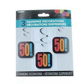"Danglers- 50th Birthday Cheer- 3pk/36"" & 4.25"" Cutout"