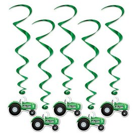 Danglers-Foil Swirl-Green Tractors-5pkg-3ft