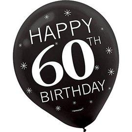 Balloons-Latex-60th Birthday-12''-15pk