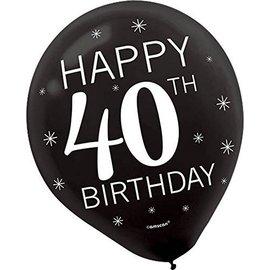 Balloons-Latex-40th Birthday-12''-15pk