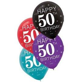 Balloons-Latex-50th Birthday-12''-15 pk