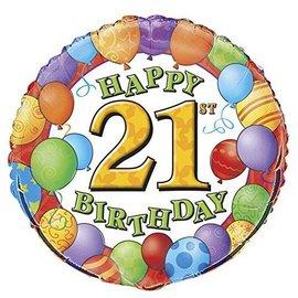 "Foil Balloons - 21st Birthday Balloons - 18"""