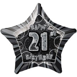 Foil Balloon - Star - Happy 21st Birthday - Black - 20""
