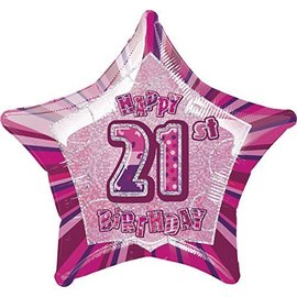 Foil Balloon - Star - Happy 21st Birthday - Pink - 20""