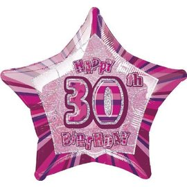 Foil Balloon - Star - Happy 30th Birthday - Pink - 20""