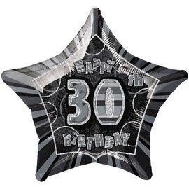 "Foil Balloon - Star - Happy 30th Birthday - Black - 20"""